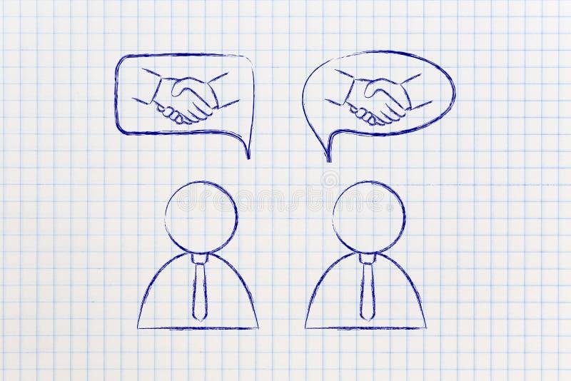 交涉&成交:与握手的商人到可笑的bubb里 免版税库存图片