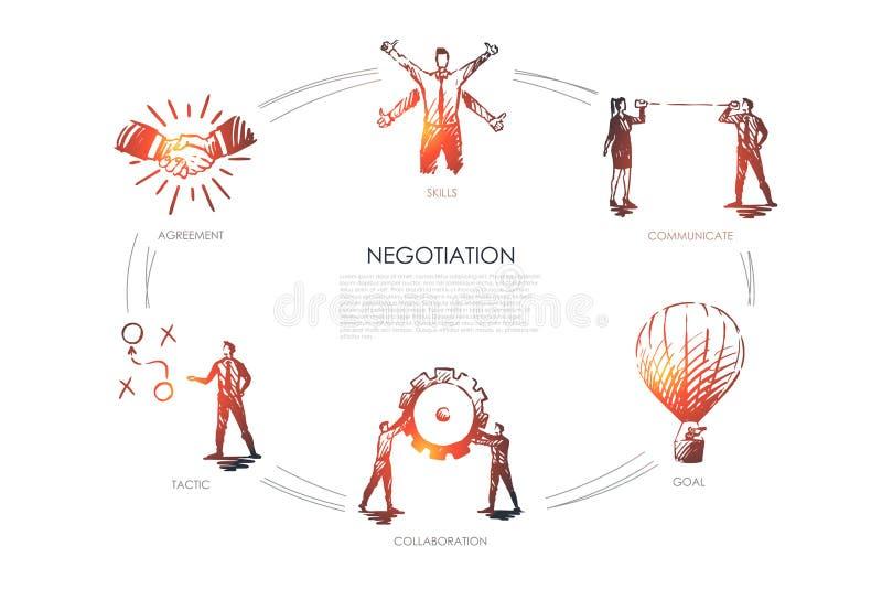 交涉-技能,目标,战术,沟通,合作集合概念 皇族释放例证