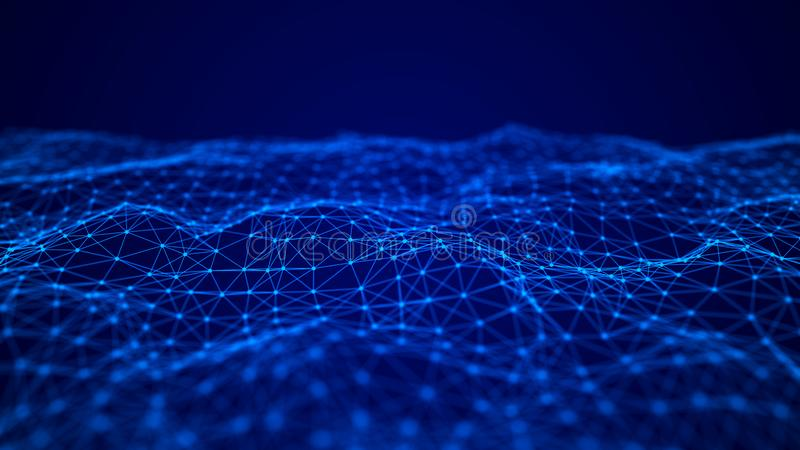 交织的点和线波浪  E 科学的技术样式 3d?? 库存例证