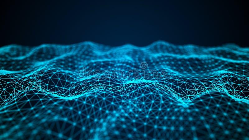 交织的点和线波浪  E 科学的技术样式 3d?? 皇族释放例证