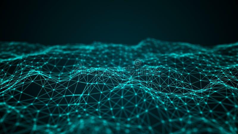 交织的点和线波浪  E 科学的技术样式 3d?? 向量例证