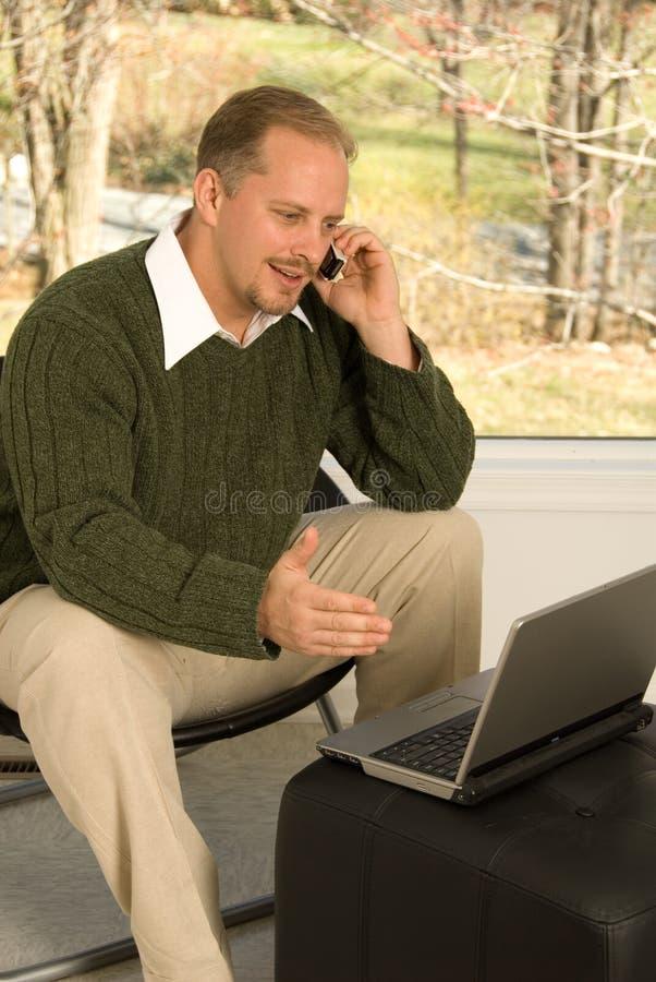 交谈家庭办公电话 库存图片