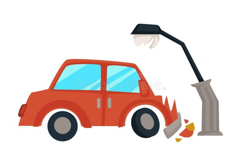 交通事故车命中街灯残破的敞篷 向量例证