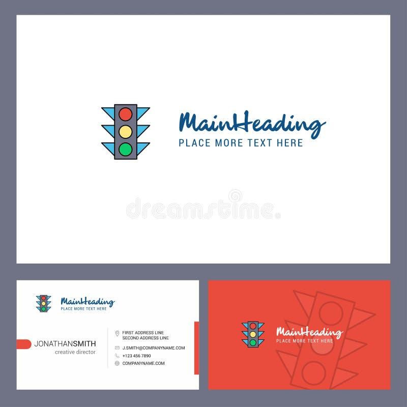 交通信号与口号的商标设计&前面和后面Busienss卡片模板 传染媒介创造性的设计 库存例证