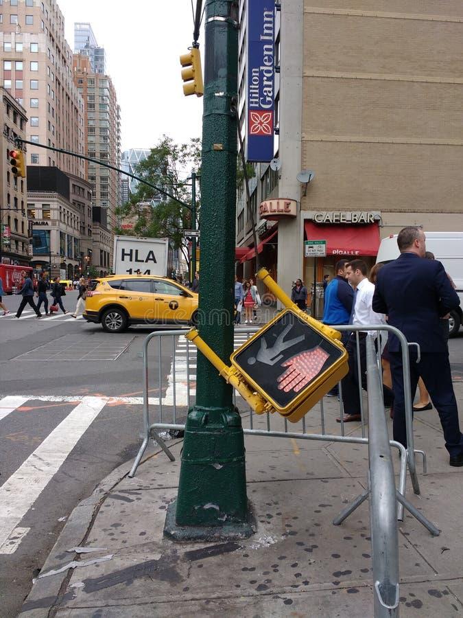 交通信号,街道修理, NYC, NY,美国 免版税图库摄影