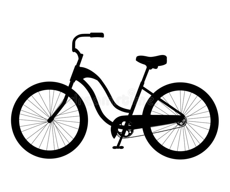 交通元素例证在白色背景网站页和m隔绝的简单的城市自行车黑色象剪影 皇族释放例证