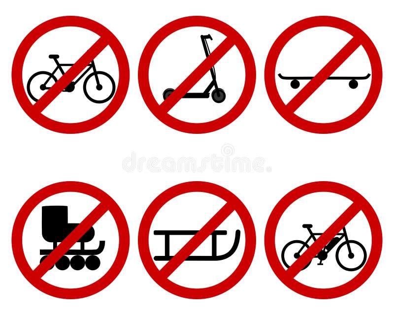 交通各种各样的体育的禁止标志 皇族释放例证