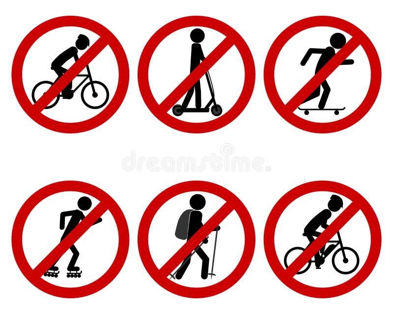 交通各种各样的体育的禁止标志 库存例证