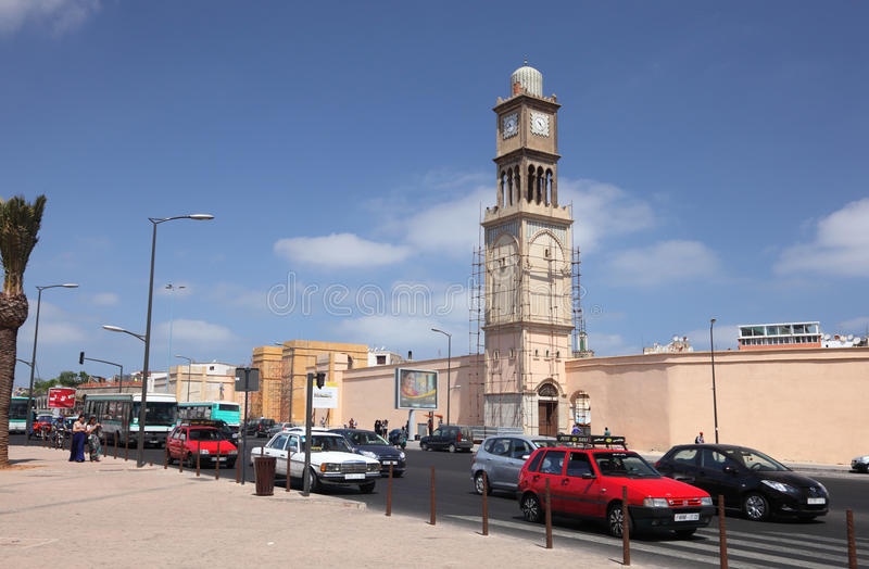 交通在卡萨布兰卡,摩洛哥 免版税库存照片
