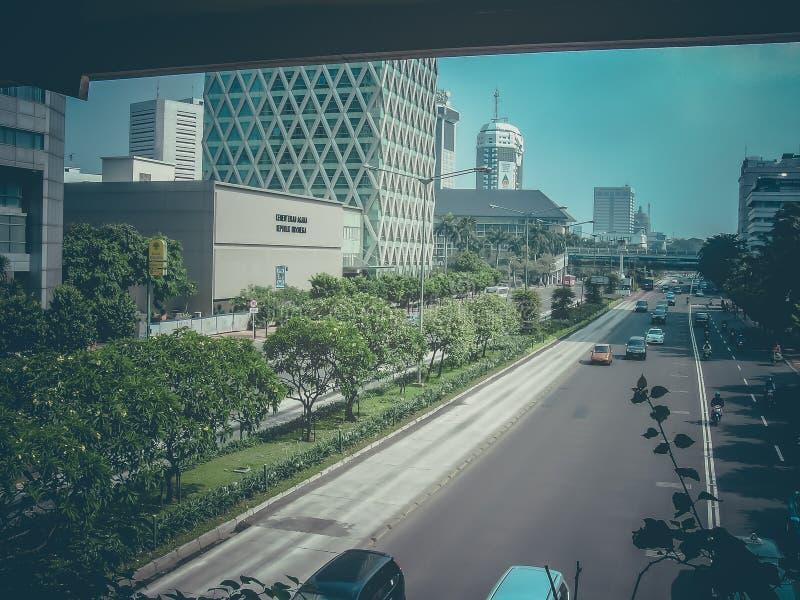 交通在雅加达,印度尼西亚在周末 库存照片