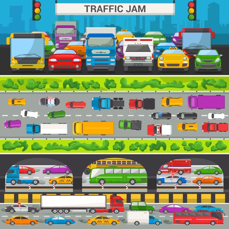 交通堵塞传染媒介运输汽车车和公共汽车在高速公路路传染媒介例证套的高峰时间内  向量例证