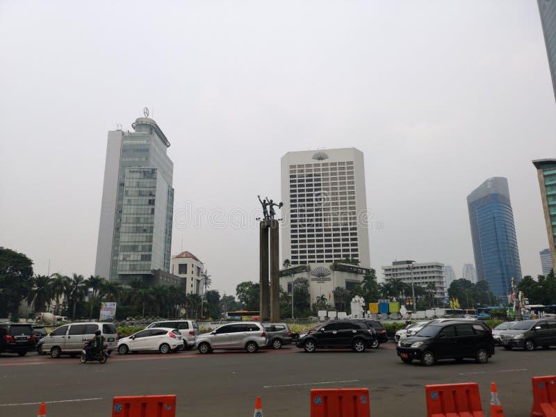 交通堵塞在午餐时间,雅加达印度尼西亚 库存照片