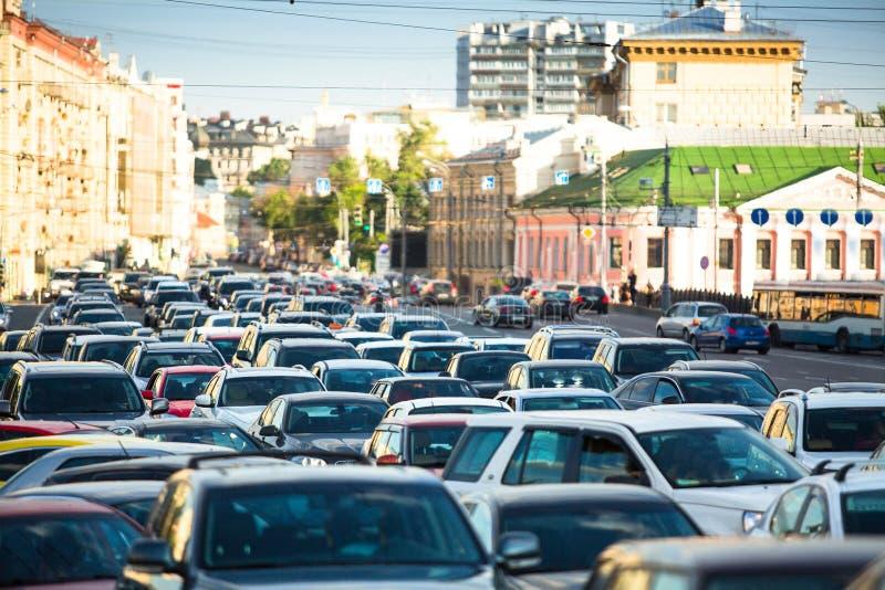 交通堵塞在莫斯科 库存照片