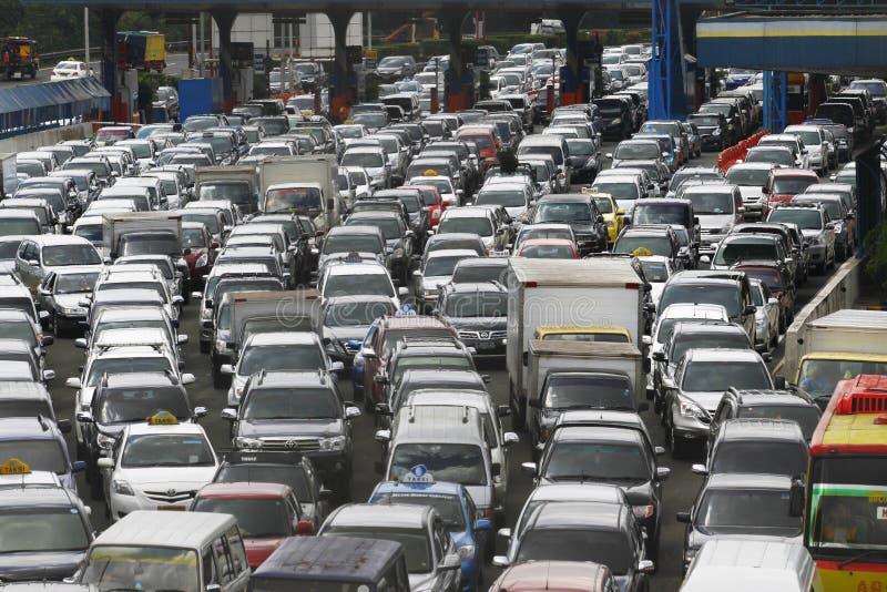 交通堵塞在雅加达印度尼西亚 免版税库存照片