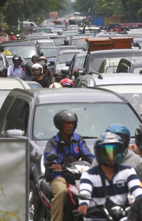 交通堵塞在雅加达印度尼西亚 免版税库存图片