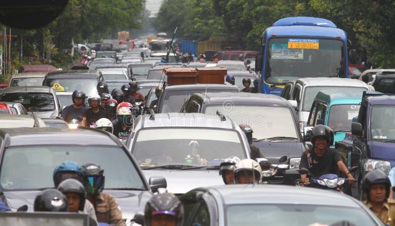 交通堵塞在雅加达印度尼西亚 图库摄影