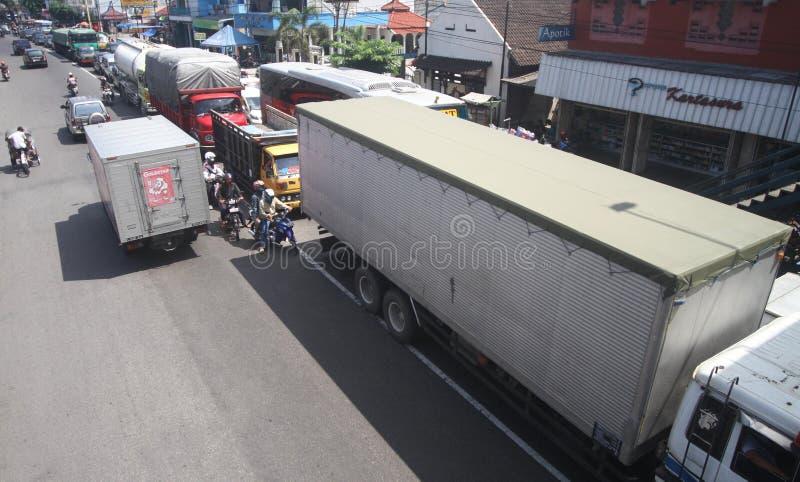交通堵塞在雅加达印度尼西亚 库存图片