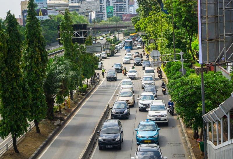 交通堵塞是在雅加达在雅加达拍的市照片的一个惯例印度尼西亚 免版税库存图片