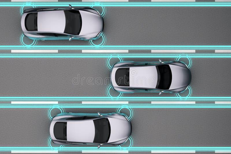 交通有距离传感器的自动驾驶仪汽车 向量例证