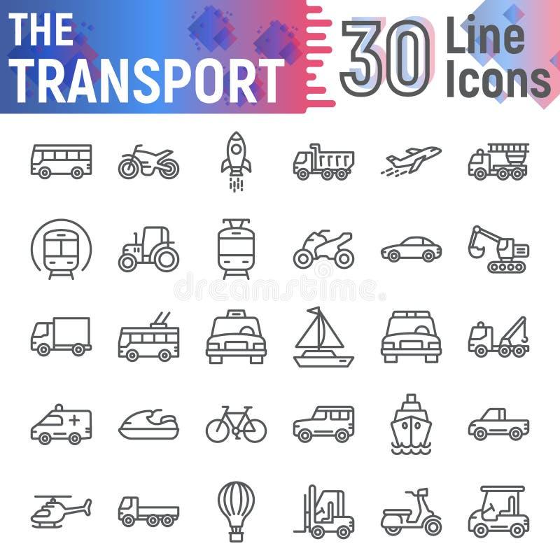 交通线象集合,车标志汇集,传染媒介剪影,商标例证,汽车签署线性图表 向量例证