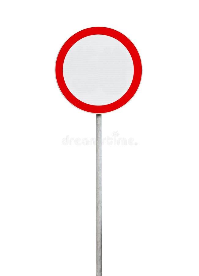 交通被禁止,在白色隔绝的路标 免版税库存图片