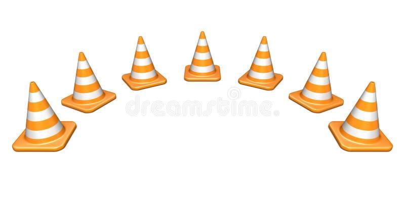 交通锥体形状的弧3D 库存例证