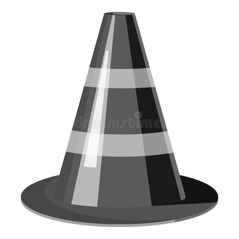 交通锥体象,灰色单色样式 皇族释放例证