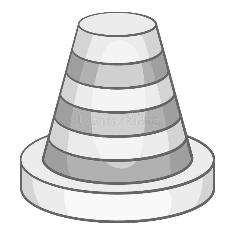 交通锥体象,黑单色样式 库存例证
