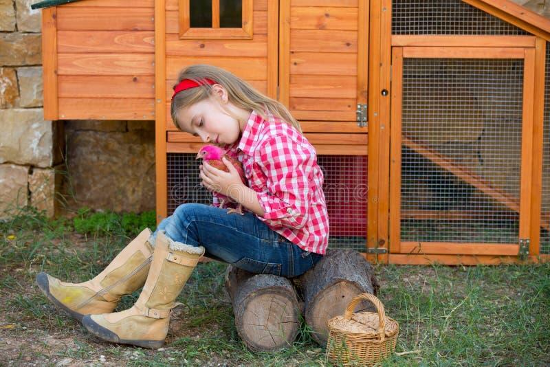 交配动物者母鸡哄骗女孩有小鸡的蓄牧者农夫在鸡舍 图库摄影