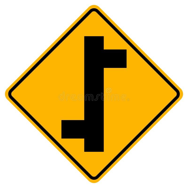 交错排列连接点交通路标,传染媒介例证,在白色背景象的孤立 EPS10 皇族释放例证