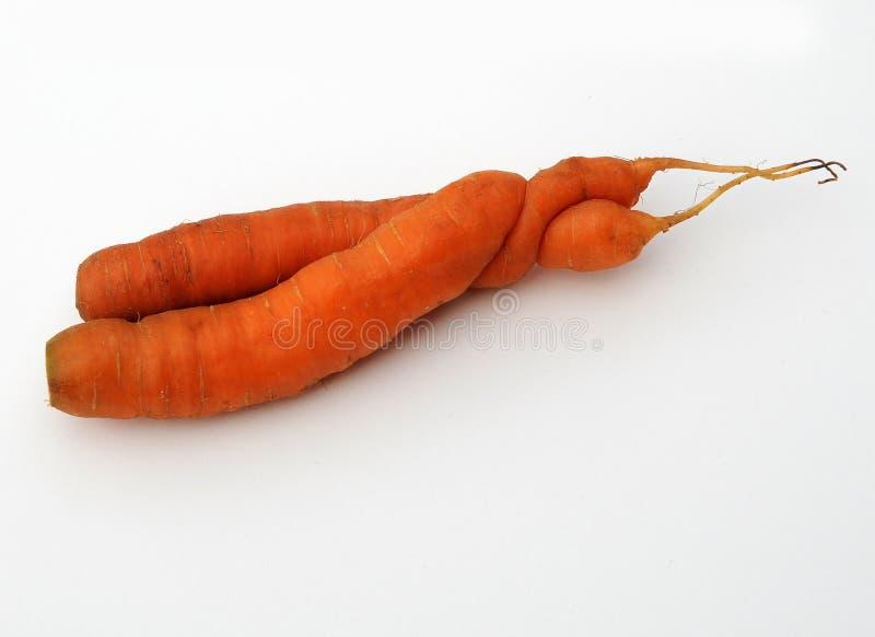 交错的爱恋的红萝卜 库存照片