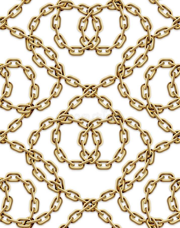 交错的金黄链子的传染媒介无缝的样式 向量例证