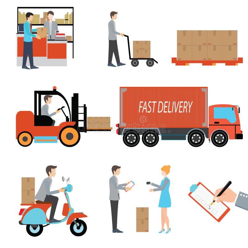 交付人货物后勤企业产业 向量例证