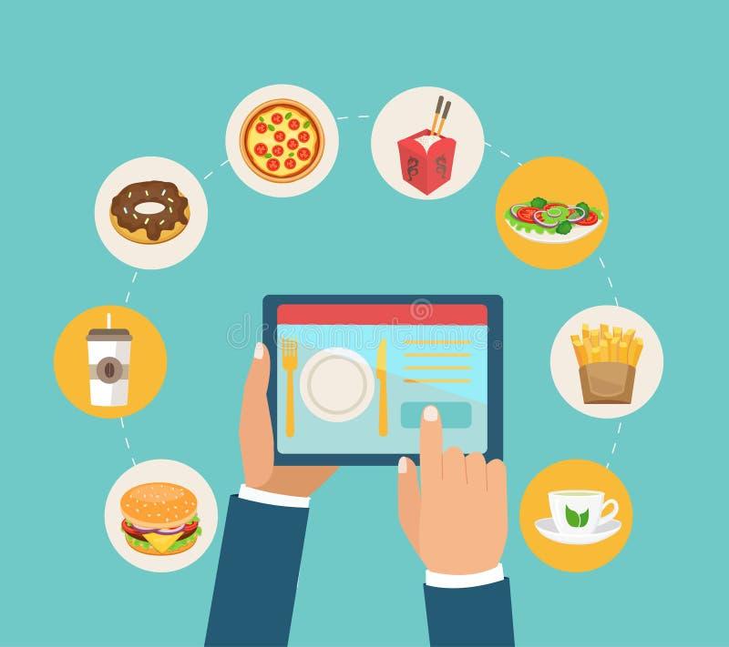交付和命令食物的概念app的 皇族释放例证