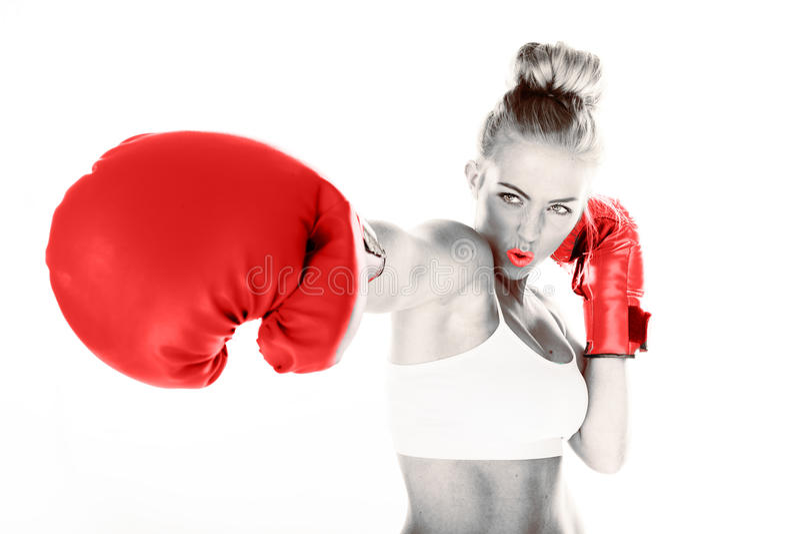 交付拳打的性感的妇女 图库摄影