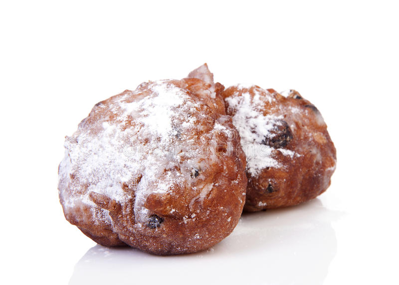 亦称两荷兰人多福饼oliebol,传统新年的ev 免版税库存照片