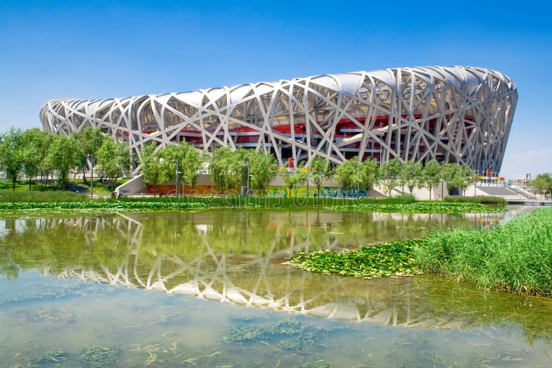 亦称中国国立霞丘陆上竞技场鸟的巢 免版税图库摄影