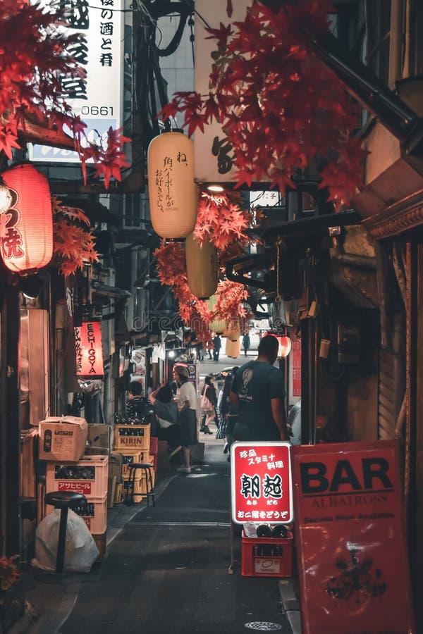 亦称传统日语暗藏的微酒吧街道Omoide Yokocho小便胡同在东京 库存照片