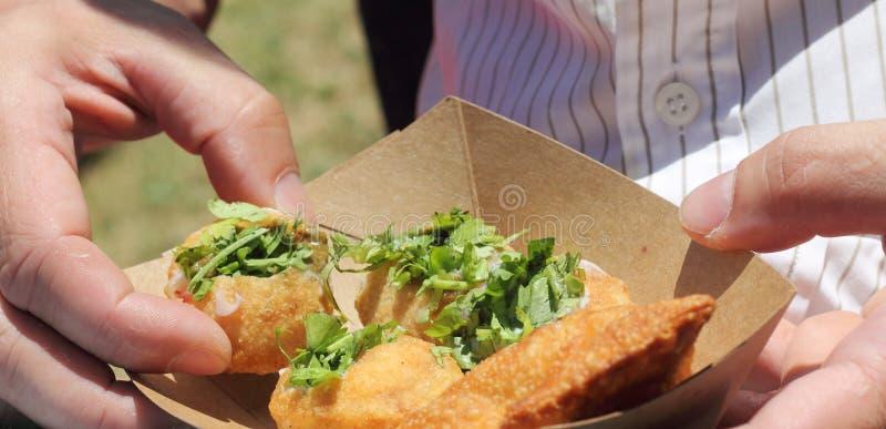 亦称印地安街道食物Pani普里 库存照片
