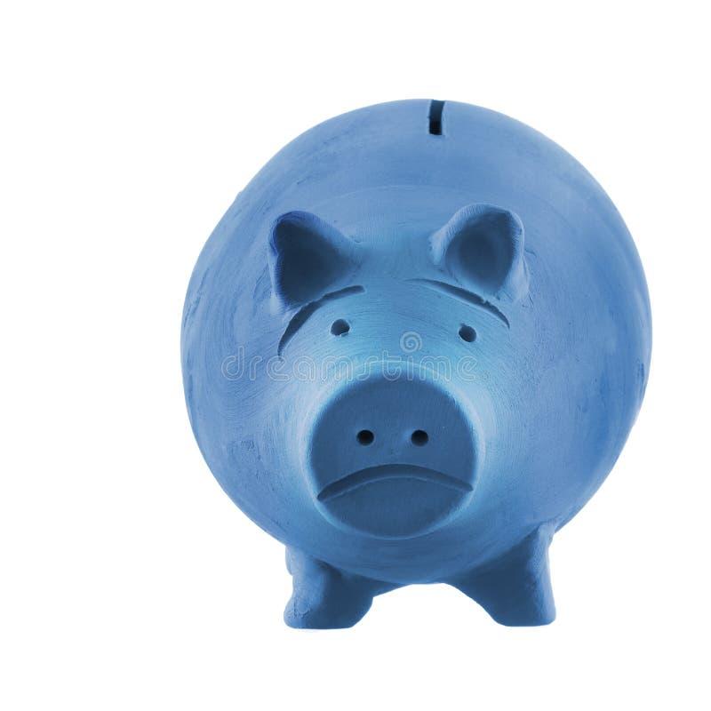 亦称沮丧,蓝色钱箱存钱罐,隔绝在白色 贫穷概念 库存图片