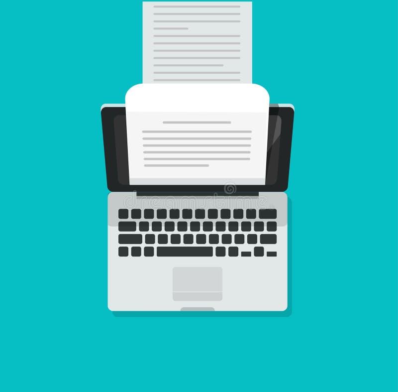 亦称计算机打字机传染媒介例证、平的动画片膝上型计算机个人计算机和长的书面文本文件,概念  向量例证