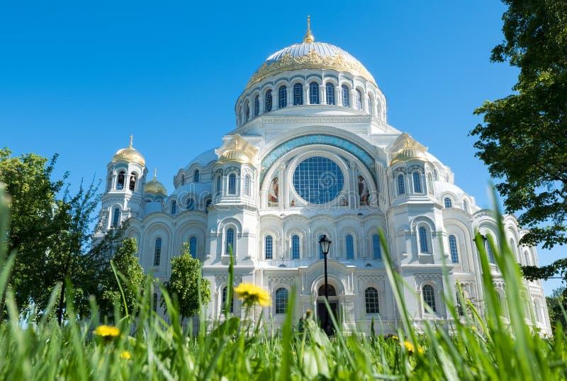 亦称Kronstadt海军大教堂圣尼古拉海军大教堂在Kronstadt圣彼德堡 俄国 免版税库存照片