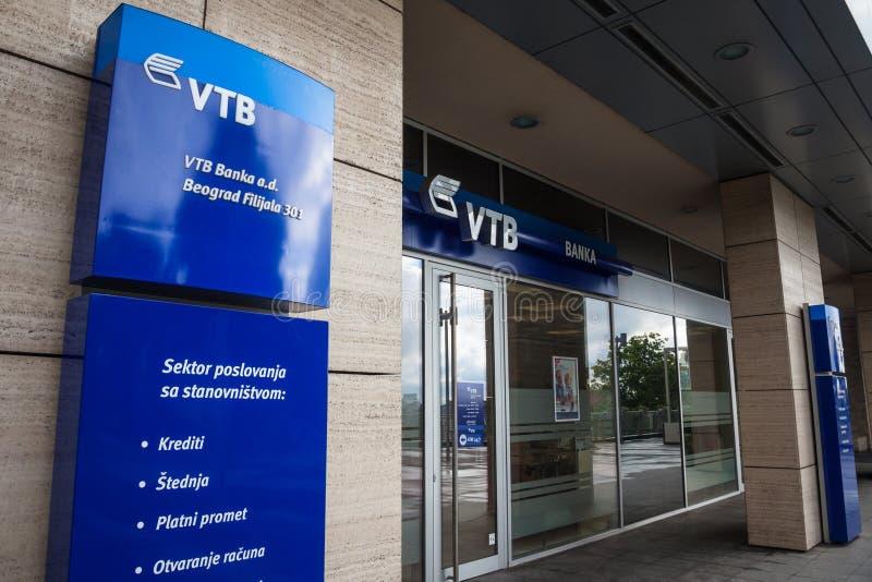 亦称VTB银行VTB在他们的大会办公处的banka商标贝尔格莱德的 VTB银行是俄国综合银行 免版税库存照片