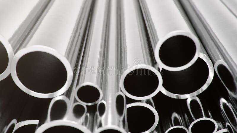 产业企业生产和重的冶金工业品,许多发光的钢管,工业背景 皇族释放例证