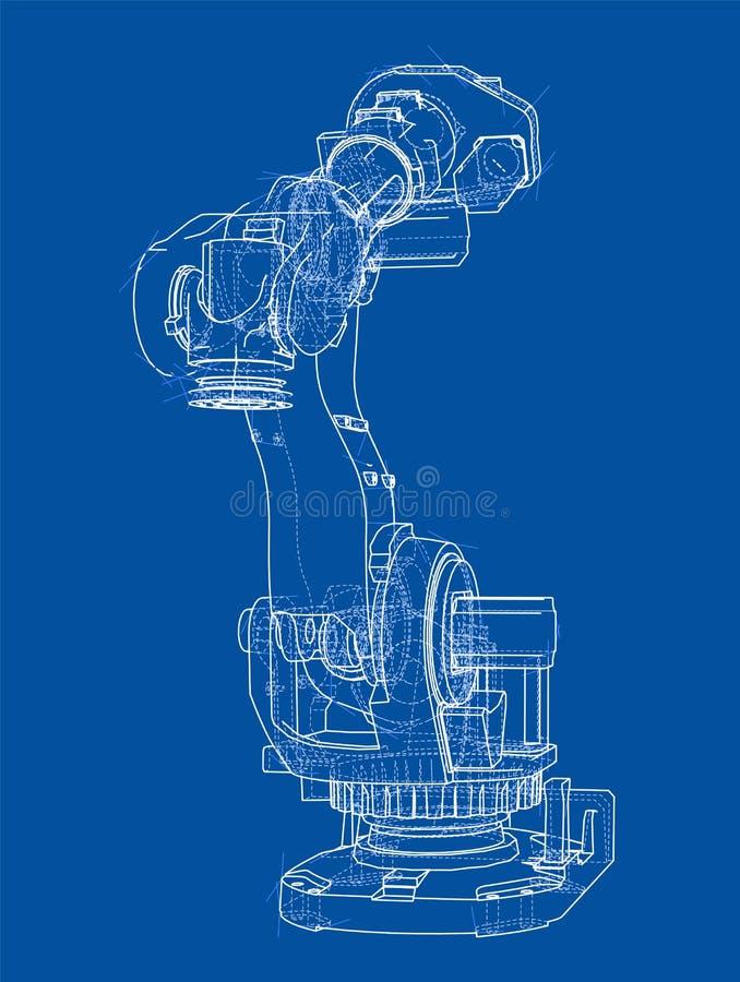 产业机器人操作器 蓝色云彩图象彩虹天空向量 库存例证