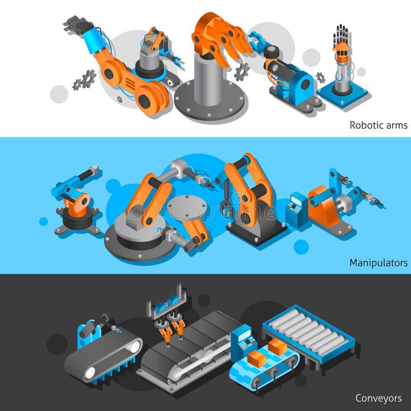 产业机器人横幅集合 向量例证