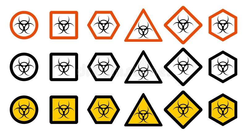 产业概念 套您的网站设计的,商标, app, UI不同的毒性道路危险标志 被隔绝的化学符号 向量例证