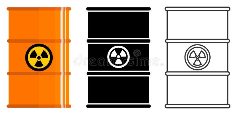产业概念 套放射性,毒性,危害,危险,易燃和毒的不同的桶 向量例证