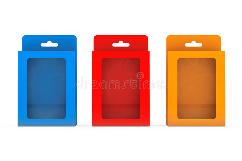 产品包裹有吊槽孔的水泡箱子 3d翻译 皇族释放例证