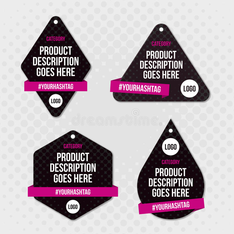 产品标签摇摆标记设计 皇族释放例证